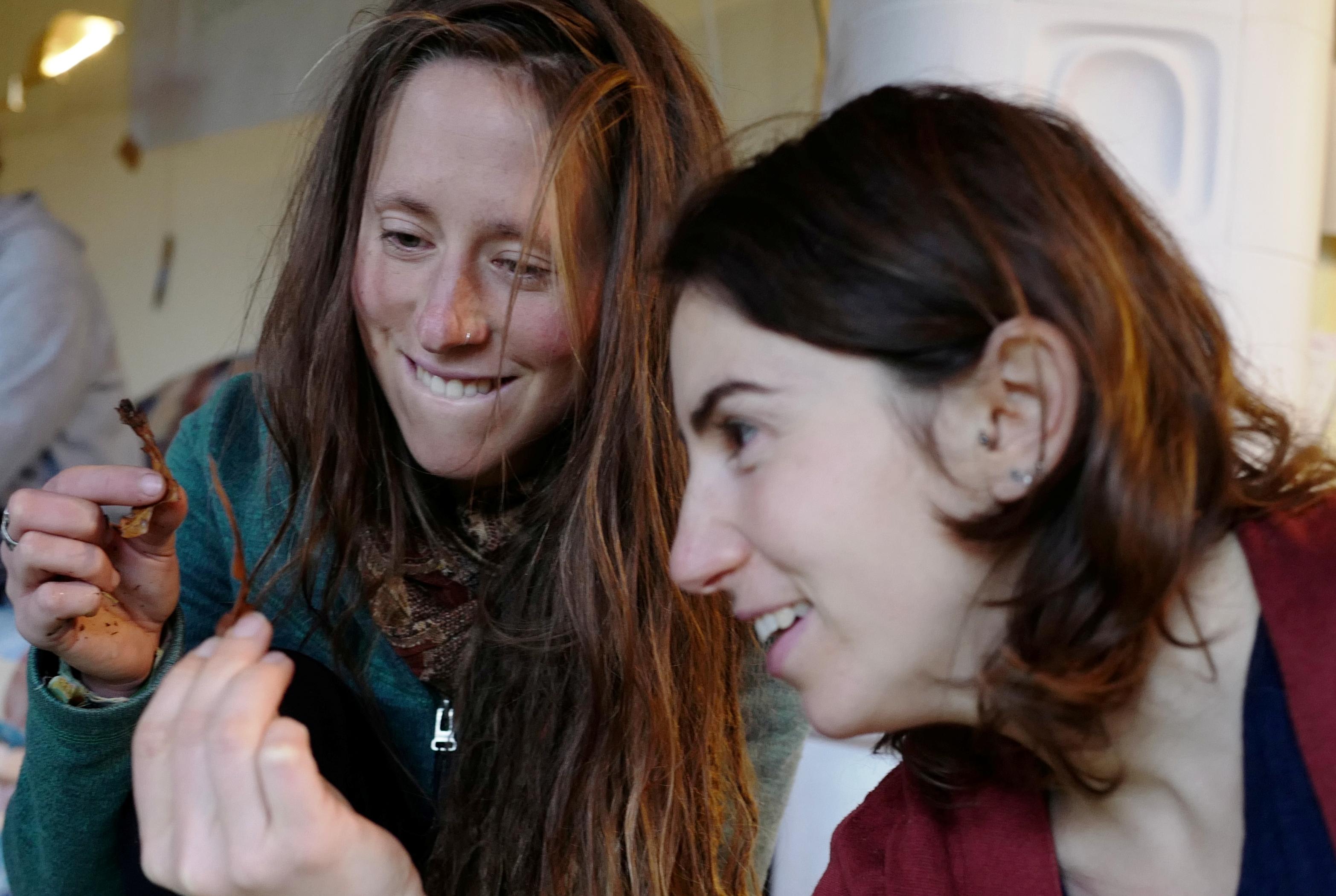 Zwei junge Frauen halten jeweils ein Blatt von einer Pflanze zwischen ihren Fingern und betrachten ihr jeweiliges begeistert