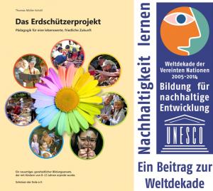 """Handbuch """"Das Erdschützerprojekt"""" mit danebenstehender Auszeichnung von der UNESCO in """"Bildung für nachhaltige Entwicklung"""" für die Dekade 2005-2014"""