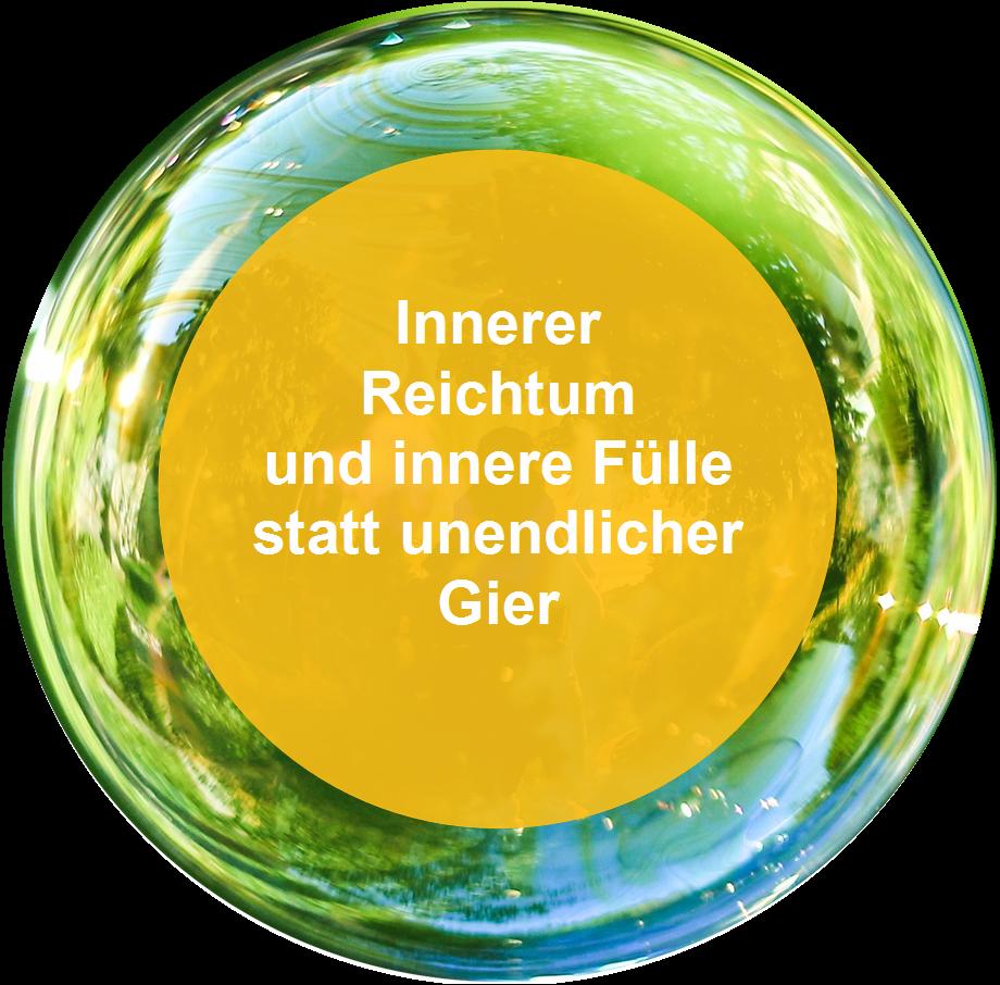"""Seifenblase mit Spruch: """"Innerer Reichtum und innere Fülle statt unendlicher Gier"""""""