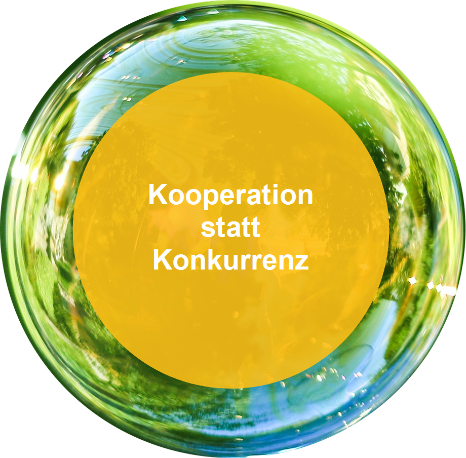 """Seifenblase mit Spruch: """"Kooperation statt Konkurrenz"""""""