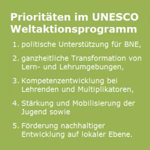 Prioritäten im UNESCO-Weltaktionsprogramm