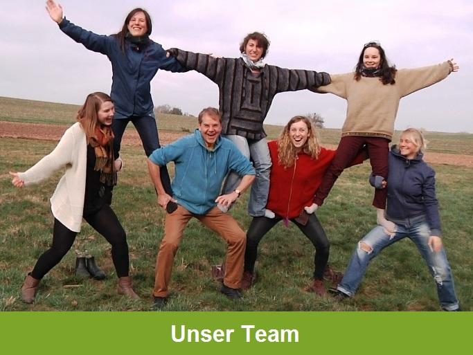 """""""Unser Team"""": Vier lachende Menschen stützen drei andere lachende Menschen und bilden so eine Pyramide"""
